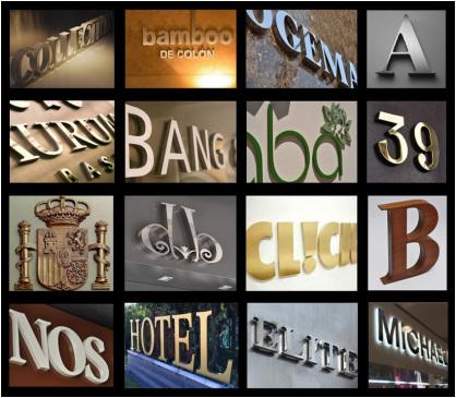 Letras corpóreas, logotipos, escudos y señalizacion de edificios